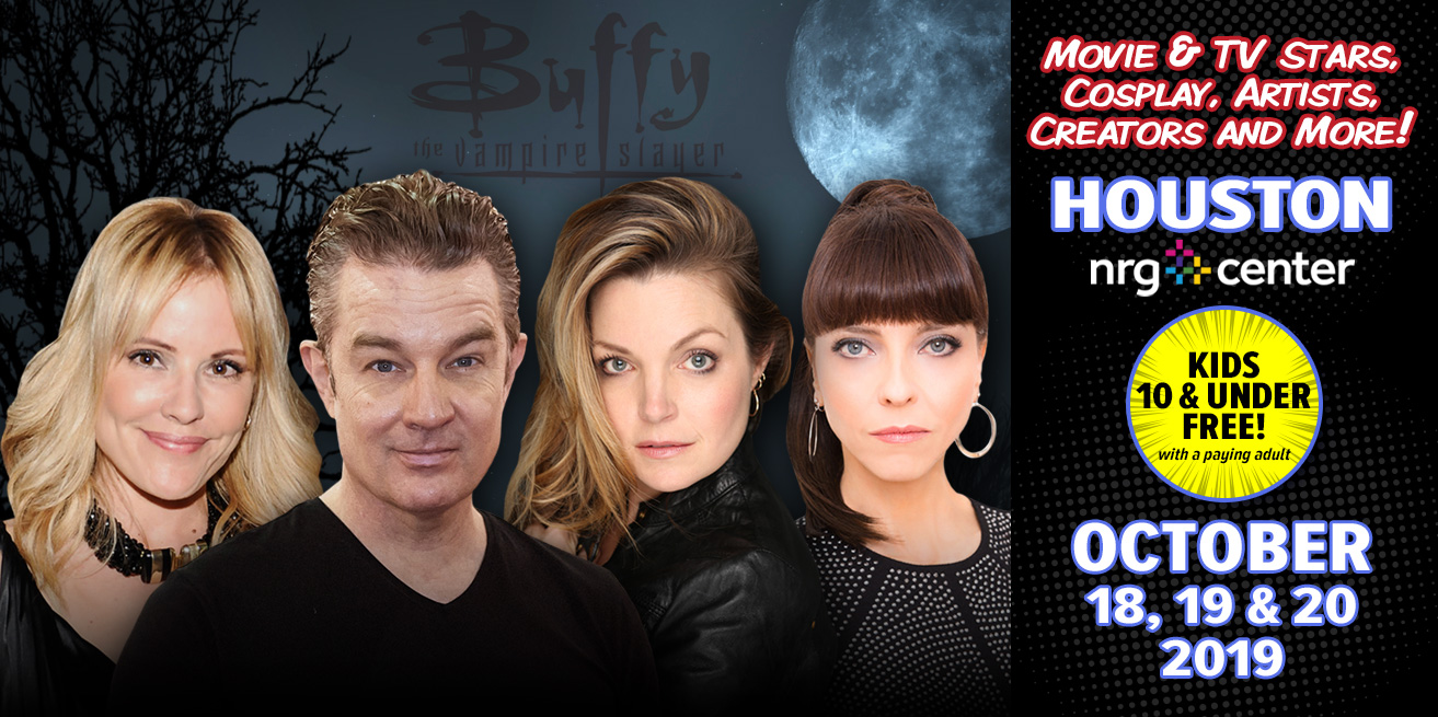 headshots of James Marsters, Juliet Landau, Emma Caulfield, and Clare Kramer